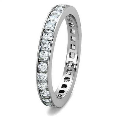 Womens Princess Cut Eternity Ring 2.8mm Stainless Steel Band Size 5 9 10 11 12