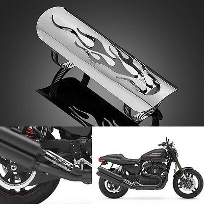 Universal Chrome Motorcycle Exhaust Muffler Pipe Heat Shield Cover Heel Guard