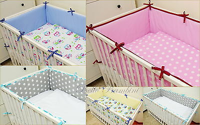 All round REVERSABLE nursery bumper/420/360cm long/Padded 4 Sided/Cot Bed