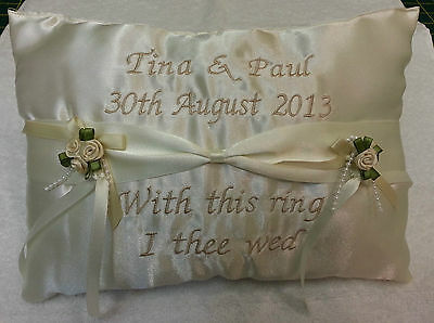 Personalised ring cushion pillow ~ ribbon style  wedding names bride groom gift