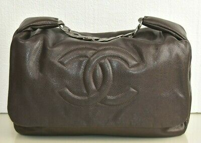 New CHANEL Classic LARGE Flap Dark Chocolate Brown Soft CAVIAR Leather Bag