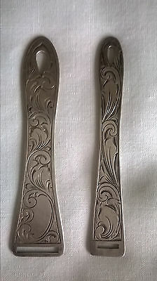 Pair Webster Co. Sterling Silver Fancy Engraved Ribbon Bodkins C. 1900