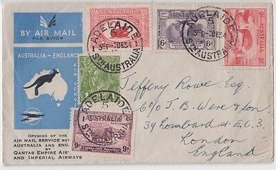 Stamps various Australia on opening airmail to GB by QANTAS & Imperial airways