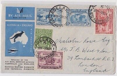 Stamps various Australia opening airmail QANTAS & Imperial airways to London
