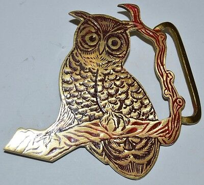"Vintage Large OWL Shaped Old India Solid Brass Unique Belt Buckle RARE 4.25"" TAG"