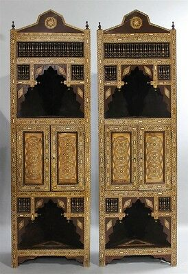 Pair Of Inlaid Moroccan/syrian Corner Cabinets