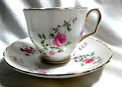 Crown Staffordshire Tea  Cup & Saucer Spring Roses And Pansies