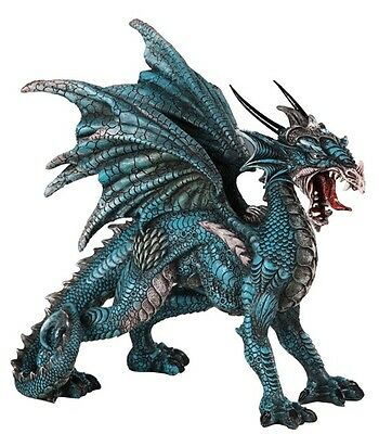 Standing Blue Dragon Fine Detailing 8 inch Sculpture Figurine Statue GSC71558