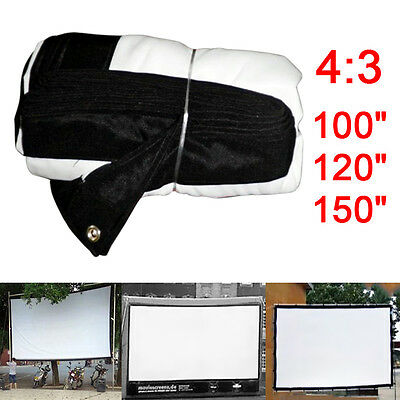 4:3 Outdoor Home KTV Projector Screen HD Movie Cinema Theater 100/120/150inch