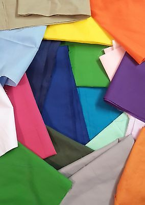 PATCHWORK REMNANTS Fabric COLOUR NEW Poplin Poly Cotton Dress Quilt Material