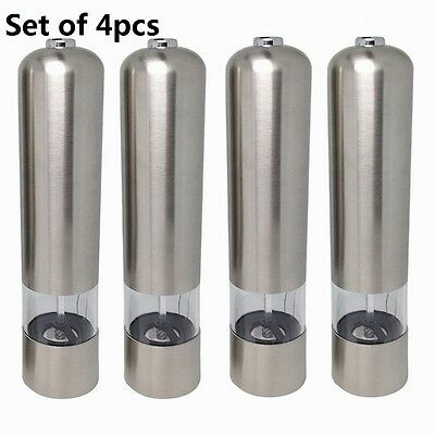 4pc a Set Kitchen Stainless Steel Electric Salt Pepper Spice Mill Grinder Muller