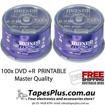 100 pack maxell Gold Series DVD-R 4.7Gb 16X Blank Recordable Discs Spindle 50spx