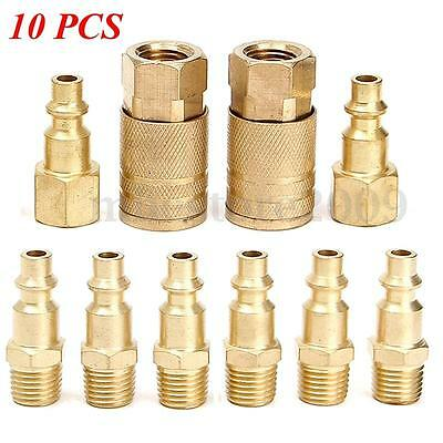 10pcs Solid Brass Quick Coupler Set Air Hose Connector Fittings 1/4 NPT Tools