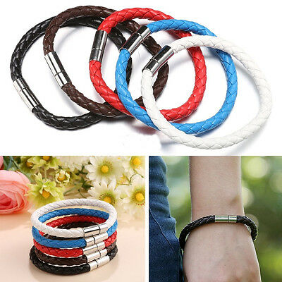 2x Hot Unisex Men Women Braided Leather Steel Magnetic Clasp Bracelet LC