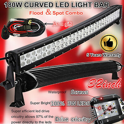 32Inch Curved Flood Spot 180W Led Work Light Bar Jeep Offroad Truck SUV 4WD 30""
