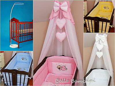 Crib Canopy Drape+all round bumper 260cmlong for SwingingCrib/Cradle+Floor Stand