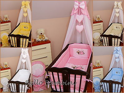 11 pcs CRIB bedding set /BumperALL ROUND/sheet/duvet/CANOPY/CANOPY DRAPE HOLDER