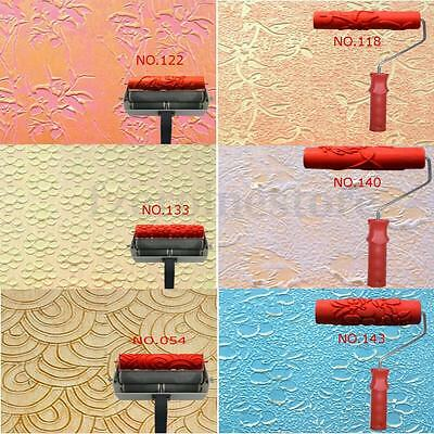 6 Patterns 7'' Embossing Paint Roller Painting Brush With Handle DIY Wall Decor