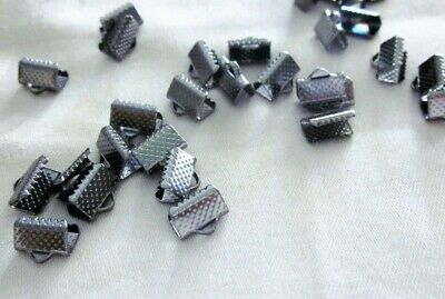 30 Gunmetal Coloured 10mm x 8mm Material Ribbon End Crimps #3424 Jewellery Craft