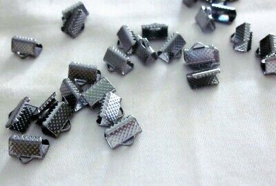 30 Gunmetal Coloured 10mmx8mm Material Ribbon End Crimps #3424 Jewellery Making