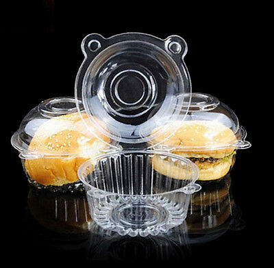 100pcs Clear Plastic Single Cupcake Cake Case Muffin Dome Holder Box Container