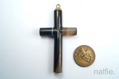 ANTIQUE ENGLISH LATE VICTORIAN GOLD BANDED AGATE CROSS PENDANT c1880's