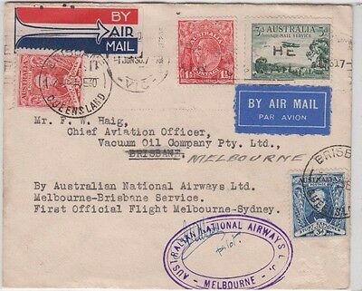 Stamps Australia various 1st Melbourne to Brisbane flight cover signed pilot