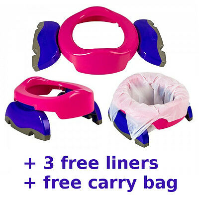 Potette Travel Potty Trainer Seat Pink/Purple + FREE 3 liners + FREE Carry Bag