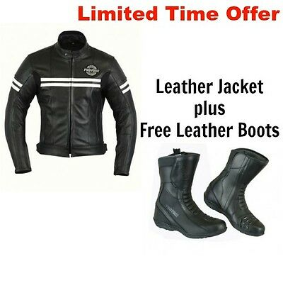 Mens Motorbike Genuine Leather Waterproof Jacket Motorcycle CE Protection Boots