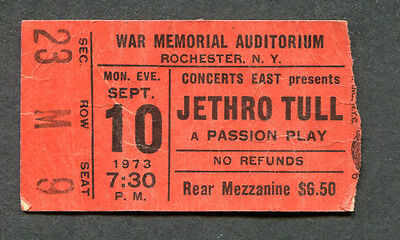 1973 Jethro Tull concert ticket stub War Memorial Rochester NY A Passion Play