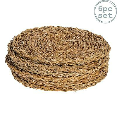 Round Straw Placemats Water Hyacinth Weave Rattan Drinks Mat - Sea Grass - x6