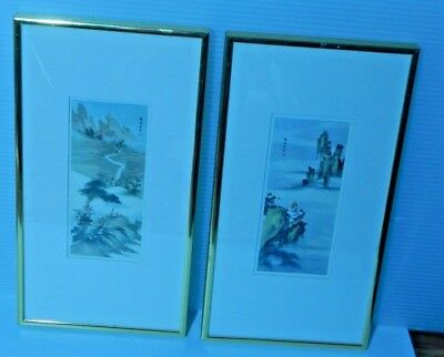 Pair of Japanese or Chinese Prints Landscape Framed