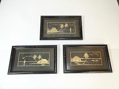 3 Vintage Bamboo Asian Textile Art Framed Pictures Shaved Bamboo Inlaid