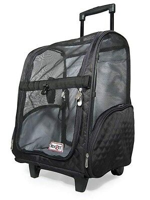 Snoozer Wheel Roll Around Dog Carrier Car Seat Backpack Bed 4-in-1 Black Large