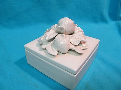 1977 Fitz And Floyd White Ceramic Candy Trinket Box Grapes Strawberry Leaves