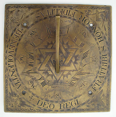 1736 British Bronze Freemason Solomon Seal David Star Sundial Thomas Betts !!!!