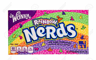 Lot Of 5 Willy Wonka Nerds Rainbow Theater Size Boxes 5 Oz Sugar Candy