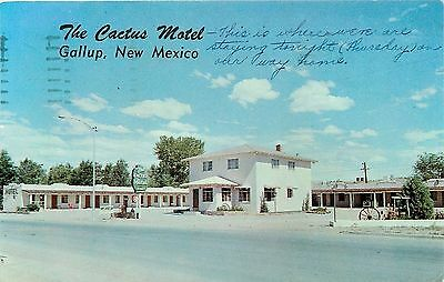Gallup New Mexico~The Cactus Motel on Route 66~1957 Postcard