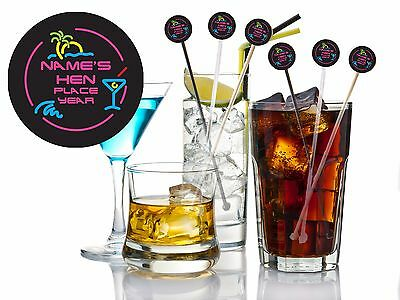 Pack of 5 Personalised Hen / Birthday/Any occasion Neon Cocktail drink stirrers