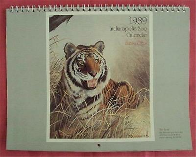 Vintage 1989 INDIANAPOLIS ZOO Wall Calendar - Spiral Bound - Artist R. L. Wallis