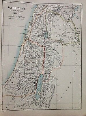 Palestine, Time of Christ - Religions of the World 1891 Antique Map, Atlas