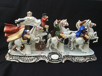 "Antique porcelain SUPER LARGE Dresden carriage . Widt 17"" - 44 cm"