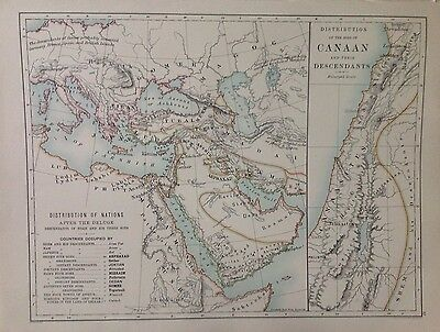 Joshua Holy Land or Distribution The Sons of Canaan, Antique Map 1891 Large