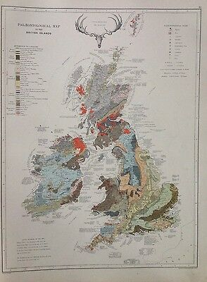 Palaeontological Britain - Globe Geological Structure Antique Map 1891 2 Sided
