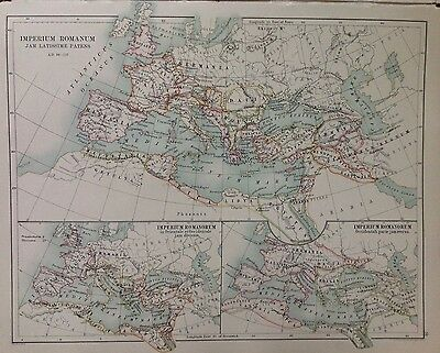 Europe  or Roman Times (Barbarian Inroads) Antique Map 1891 Large Double Sided