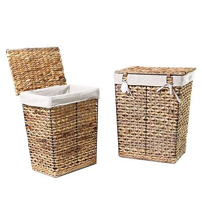 Adeco Multi-Purpose Laundry Basket with Lid, Seagrass and Iron Construction Home