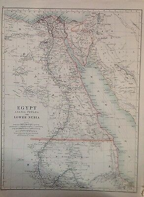 Egypt Lower Nubia or Africa (Southern & North West) 1891 Antique Map, Large