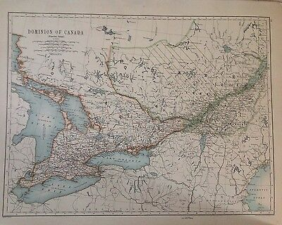 North America- Dominion of Canada (Western) Antique Map 1891 Large 2 Sided Atlas