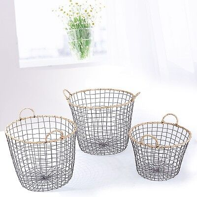 Adeco Multi-Purpose Oval Iron wired Baskets with Handles and rope Lining Set 3