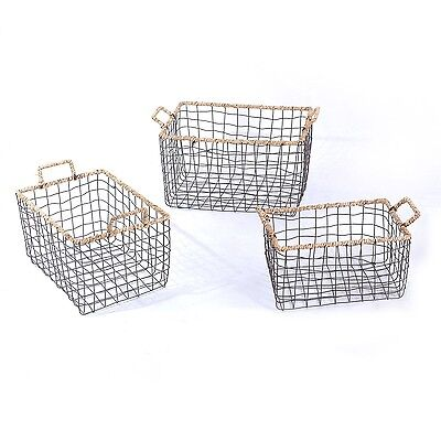 Multi-Purpose Rectangular Iron wired Baskets with Handles and rope Lining Set 3